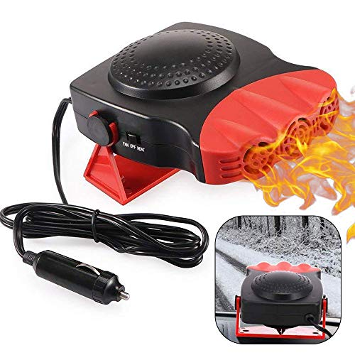 Car Heater, Portable Auto Electronic Heater Fan Fast Heating Defrost 12V 150W Car Defrost Defogger, 2 in 1 Heating/Cooling Function 3-Outlet, Plug Adjustable Thermostat in Cigarette Lighter Heater