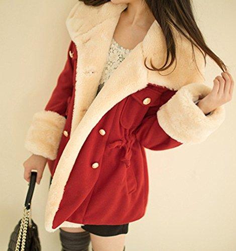 Manteaux Manteau Casual Minetom Rouge Outwear Capuche Femme Mode Veste Chaud Hiver Coat xfIgq