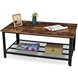 KingSo Industrial Coffee Table with Storage Shelf, Wood Look Accent Furniture with Metal Frame, Rustic Brown