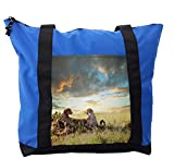 Lunarable Safari Shoulder Bag, Dangerous Cheetahs in Africa, Durable with Zipper