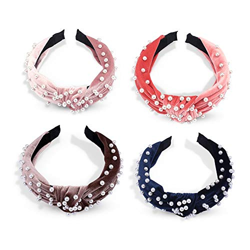 Fashion Pearl Headbands for Women, 4 Packs Taomoder Velvet Hair Bands Knotted Headbands for Women Thick Headbands for Women Hair Hoop Hair Accessories for Women