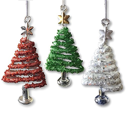 glass christmas trees set of 3 red white and green glittery ornaments spun glass