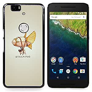 "Qstar Arte & diseño plástico duro Fundas Cover Cubre Hard Case Cover para Huawei Google Nexus 6P (Steam Punk Flying Dog Pug"")"