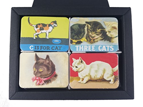 Ninja souvenirs Cat fridge magnets refrigerator magnet magnetic souvenirs mini small vintage retro for stainless steel board kitchen car office set of 24 (Cat with box)
