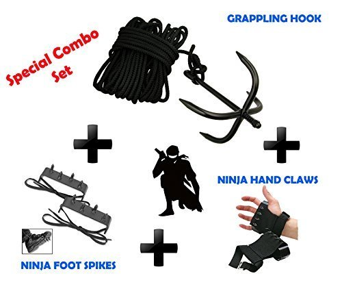 NINJA Combo Set Grappling Hook, Hand claws & Foot Spike Climbing Gear. by Unknown