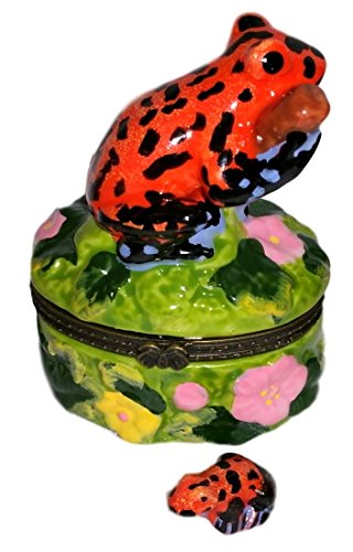 (Tropical Bright Red Spotted Tree Frog 2pc Porcelain Hinged Trinket BOX)