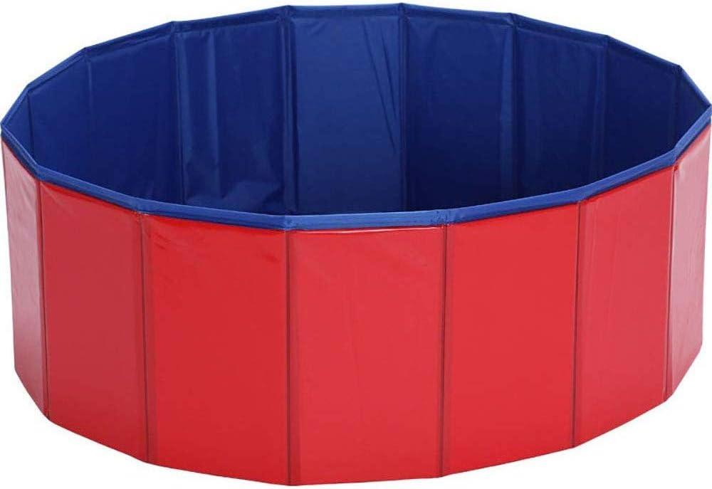 KJRJTC Perro casero Plegable de baño de la Piscina, Piscinas for niños Piscina de plástico Duro Plegable de baño de hidromasaje al Aire Libre de PVC for Perros Cat Kid (Size : M)