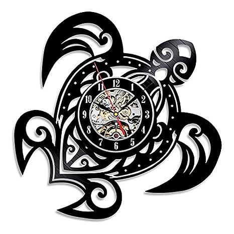 TOOGOO Relojes de pared clasicos en Forma de tortuga de mar Reloj de engranaje Decoracion de la cara Reloj de arte Reloj de pared de Disco de vinilo: ...