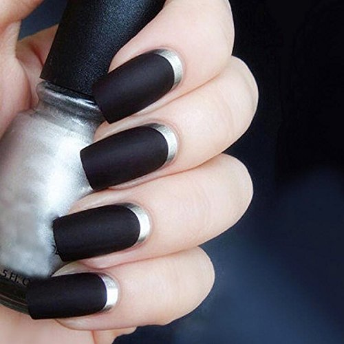 Yean False Nails 24Pcs/Set Bridal Full Cover Medium Long Square Black Matte Silver Fake Nail Tips with Design Press on Nails with Glue and Adhesive Tab for Women and Girls