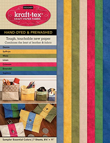 kraft-tex Sampler Essential Colors Hand-Dyed & Prewashed: Kraft Paper Fabric, 7-Sheets 8.5