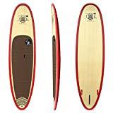 10' 6''' x 33'' x 4 3/4'' Bamboo Epoxy Stand Up Paddle Board PKG Red Rail by JK