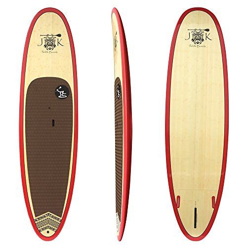 10' 6''' x 33'' x 4 3/4'' Bamboo Epoxy Stand Up Paddle Board PKG Red Rail by JK by JK Paddleboards