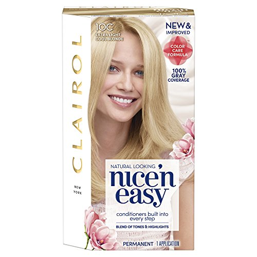 Clairol Nice 'n Easy Permanent Hair Color, 10C Extra Light Cool Blonde, 1 Count, Blondes