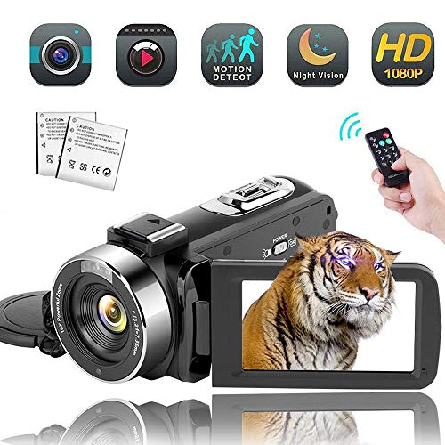 - Video Camera Camcorder,Vlogging Camera Recorder for Youtube Full HD 1080P 30FPS 16X Digital Zoom Vlog Camera Support Night Vision Pause Function Time Lapse & Motion Detection