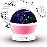 Baby Nursery Night Light with Music,Kokome USB Rechargeable 4 Modes LED Constellation Children Kids Toy Rotation Lighting Romantic Mood Cosmos Universe Sky Moon Star Rotating Round Projector Lamp Gift For Sale