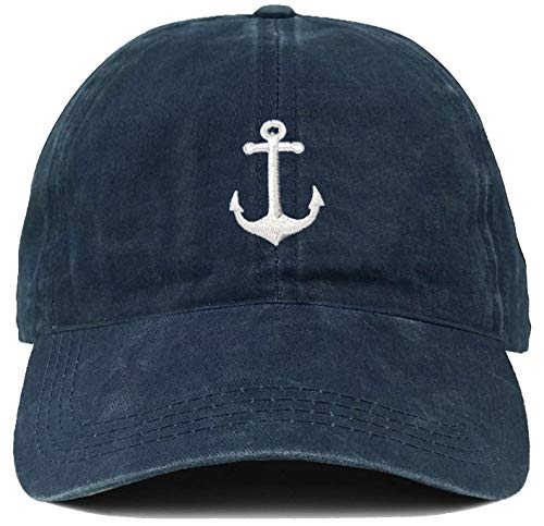 Funky Junque Dad Hat Unisex Cotton Low Profile Distressed Vintage Baseball Cap (Anchor - Navy) ()