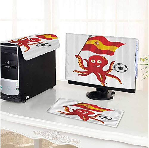 Leighhome Computer Three-Piece dust Cover European Football Barcela Madrid Valencia Sports Lover Clip Home Accent Protect Your Computer /19
