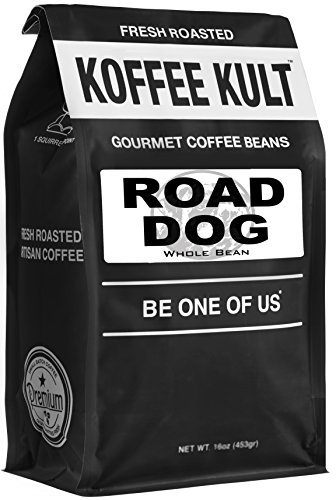 "Dark Roast, Whole Bean Colombian Coffee – Koffee Kult's Award-Winning ""Road Dog"" Blend – 16 oz Full Body Arabica Coffee Beans – Rich, Sweet, Cocoa Finish – Fresh Roasted and Hand-Crafted by Artisans"