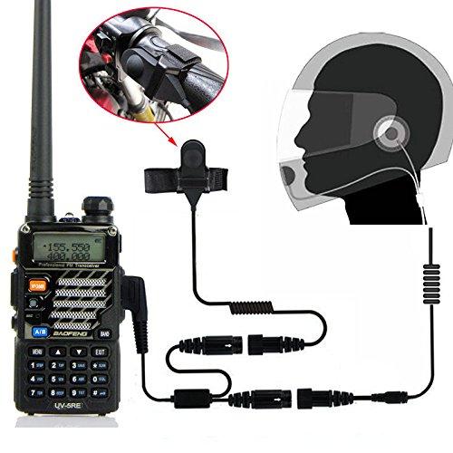 BaoFeng Helmet Kit 2 PIN Full Face Motorcycle Headset Earpiece Mic, for BaoFeng/Kenwood/WouXun/PuXing/Linton Two Way Radio Walkie Talkie, Black