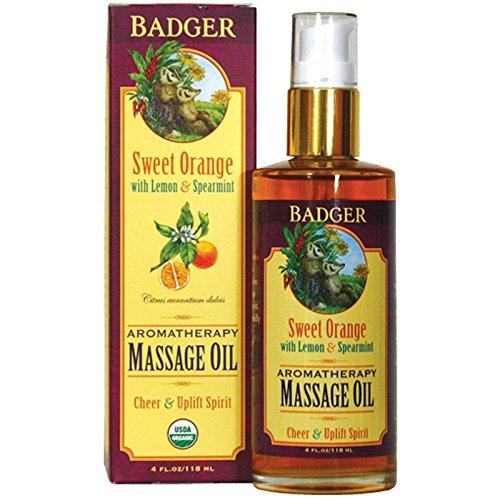 Badger Company, Aromatherapy Massage Oil, Sweet Orange with Lemon & Spearmint, 4 fl oz (118 ml) - 2pc (Badger Massage Oil)