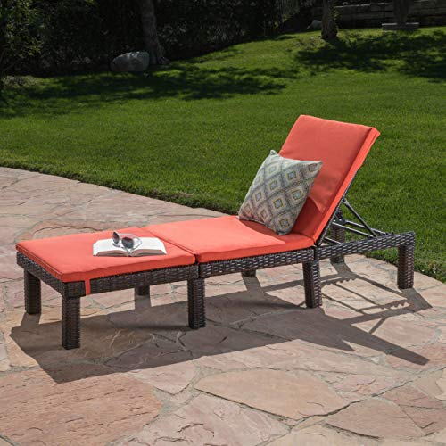 Great Deal Furniture 303866 Joyce Outdoor Multibrown Wicker Chaise Lounge with Orange Water Resistant Cushion