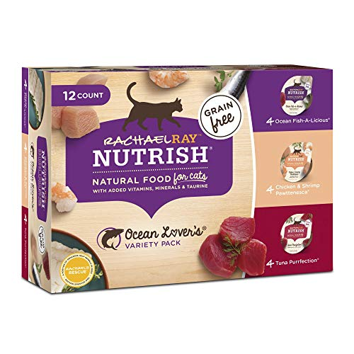 Rachael Ray Nutrish Natural Grain Free Ocean Lovers Variety Pack Wet Cat Food, 2.8 oz, Pack of 12