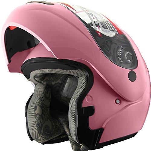Snowmobile Helmet Motorcycle Helmet Modular Flip up Anti Fog Pink (S) ()