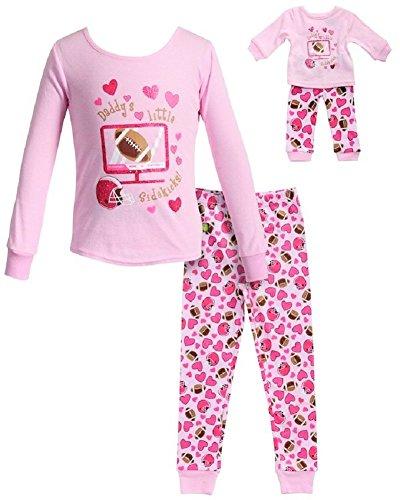 Dollie & Me Girls Pink Daddy's Little Sidekick Size 4-12 Football Pajamas (10)