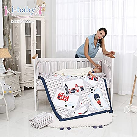 i-baby 9 Piece Nursery Crib Bedding Set for Newborn Baby Girls Infant Crib Sheet Duvet Pillow Bumper Cot and 100/% Cotton Printed Cover Kungfu Boys