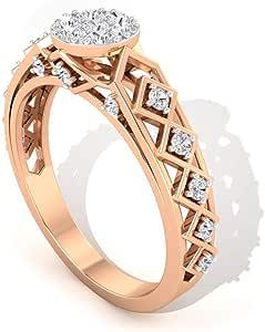 0.35 Ct IGI Certified Diamond Solitaire Illusion Ring, Statement Zig Zag Women Ring, IJ-SI Color Clarity Diamond Gold Ring, Wedding Anniversary Ring