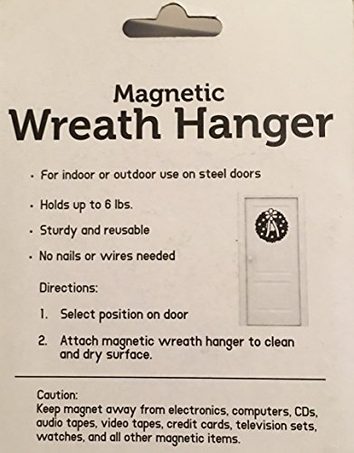 White Magnetic Wreath Hanger Holder Hook - For Steel Doors - No Nails or Wires! Holds up to 6 pounds. by CTS