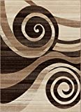Desert Swirl Brown & Beige Modern Geometric Comfy Casual Spiral Hand Carved Area Rug 5x7 ( 5'3'' x 7'3'' ) Easy to Clean Stain Fade Resistant Contemporary Thick Soft Plush Living Dining Room Rug