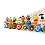Sealive Kids Push Pull Toys Lovely Animal Trolley Toy Pre-Walking Walker Children Educational Toys Early Education Wooden Push and Pull Toys,Perfect Gift for Toddler