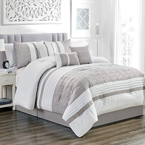 rey/White / Gray Floral Embroidered Bed in a Bag Luxury Comforter Set King Size Bedding ()