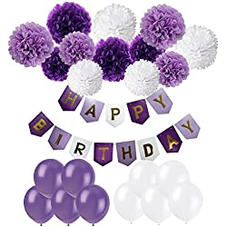 Cocodeko Happy Birthday Banner, Birthday Bunting Paper Garland with 12pcs Tissue Paper Pom Poms and 20pcs Balloons for Birthday Party Decorations - Purple, Lavender and White