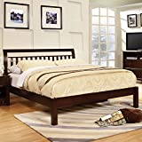 Corry Classic Transitional Style Dark Walnut Finish Cal King Size Bed Frame Set
