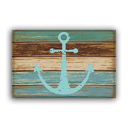 Vandarllin Blue Nautical Anchor Rustic Old Barn Wood Doormats Non-Slip Indoor/Outdoor/Front Door -
