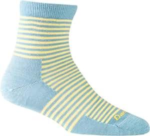 Darn Tough Merino Wool Stripes Quarter Crew Light - Aqua - Small