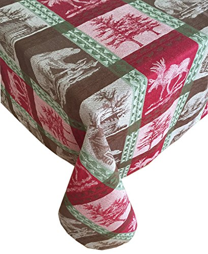 ountry Rustic Lodge Plaid, Moose, Bear and Cabin Cotton Jacquard Weave Holiday Tablecloth, 100% Cotton, 70