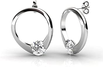 17800a35d Cate & Chloe Dahlia White Gold Drop Earrings, 18k Gold Plated Ring with Swarovski  Crystals