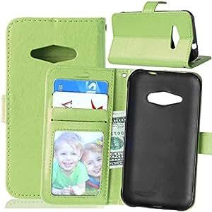 TOMYOU Funda de piel para Samsung Galaxy J1 Ace, [Cable Libre] función de soporte móvil, cierre magnético, ranuras para tarjeta de crédito para Samsung Galaxy J1 Ace (J110H) (verde)