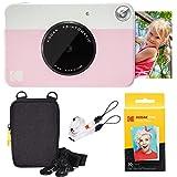 Kodak Printomatic Instant Camera (Pink) Basic Bundle + Zink Paper (20 Sheets) + Deluxe Case + Comfortable Neck Strap