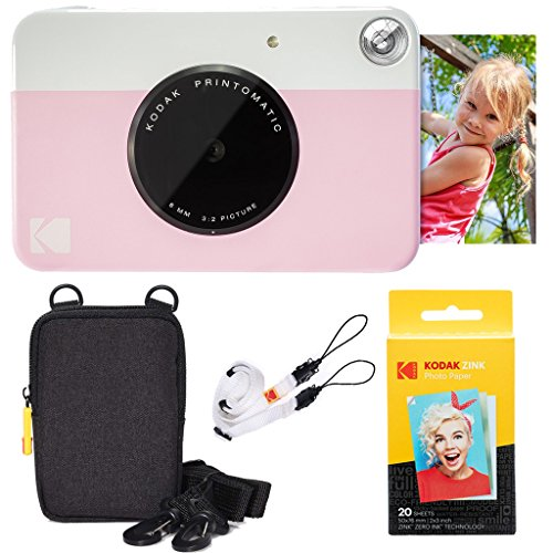 Kodak Printomatic Instant Camera (Pink) Basic Bundle + Zink Paper (20 Sheets) + Deluxe Case + Comfortable Neck Strap