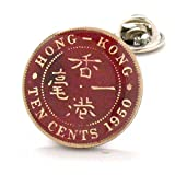 Hong Kong Coin Tie Tack Lapel Pin Suit Flag China Chinese Lucky Asia ?? ?? ?? ?? ??