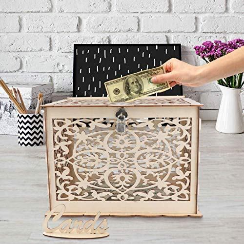 E-Eternity DIY Wedding Card Box,Wedding Money Box Holder with Lock and Card Rustic Sign Wooden Hollow Gift Card Box for Reception Wedding Anniversary Baby Shower Birthday Graduation Party Decorations]()