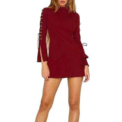 Otoño de las mujeres nuevo vestido de cremallera sólido de la manga de la llamarada del mini vestido ocasional DOLDOA