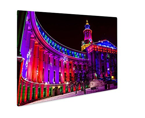 Ashley Giclee Metal Panel Print, Denver City And County Building Holiday Lights, Wall Art Decor, Floating Frame, Ready to Hang 16x20, AG6386584
