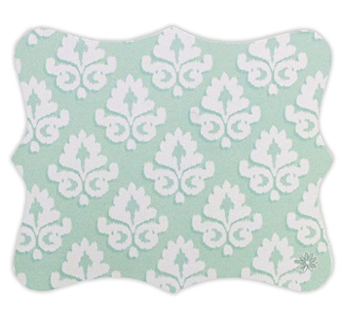 "bloom daily planners Mouse Pad (+) 8"" x 9"" Uniquely Shaped Mouse Pad (+) Custom Cut Optical Friendly Mouse Pad - Mint Damask Design"
