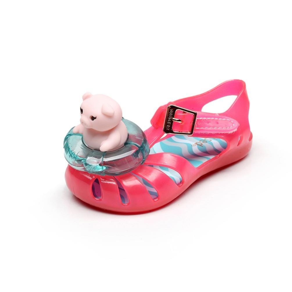 Hometom幼児/キッズ赤ちゃん女の子男の子Pig Lifebuoy Jellyビーチサンダルゴム防水雨靴 Age:1-1.5T レッド B07BFQ8BML