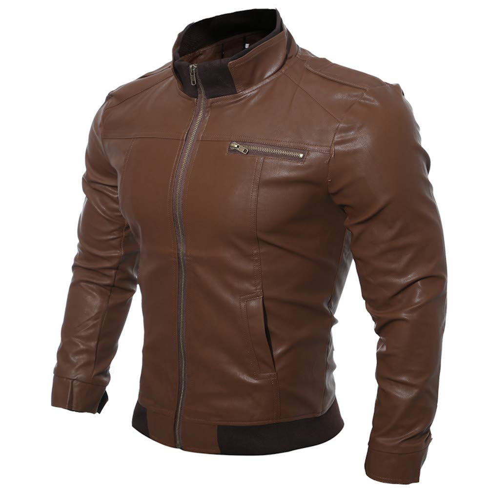 Men's Leather Jackets,WUAI Casual Motorcycle Outdoors Slim Fit Fashion Full-Zip Lightweight Outwear(Dark Brown,US Size XL = Tag 2XL)